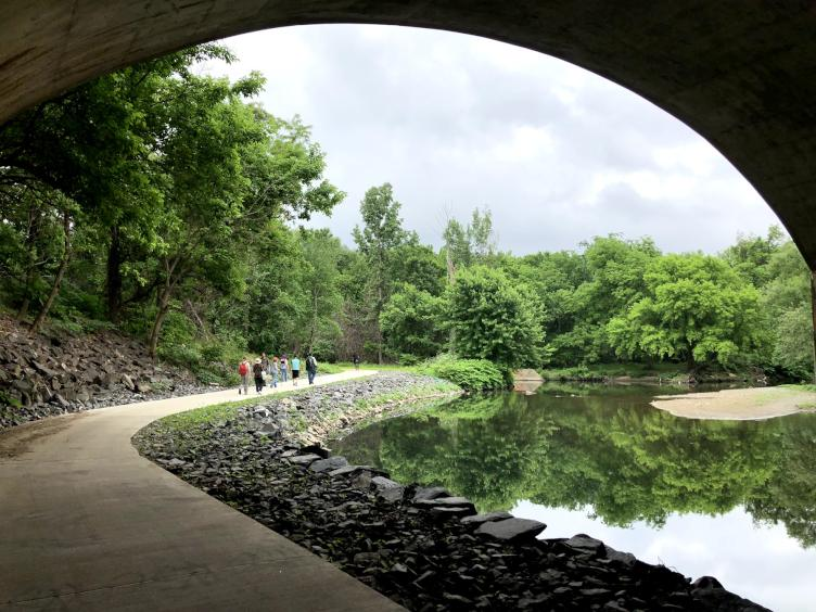 Tacony Creek Trail's Phase 2, the new pedestrian trail under Roosevelt Boulevard. Credit: Diana Lu/WHYY