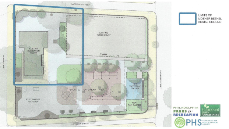 The blue outline defines the boundaries of the historic Bethel Burying Ground underlying Weccacoe Playground.
