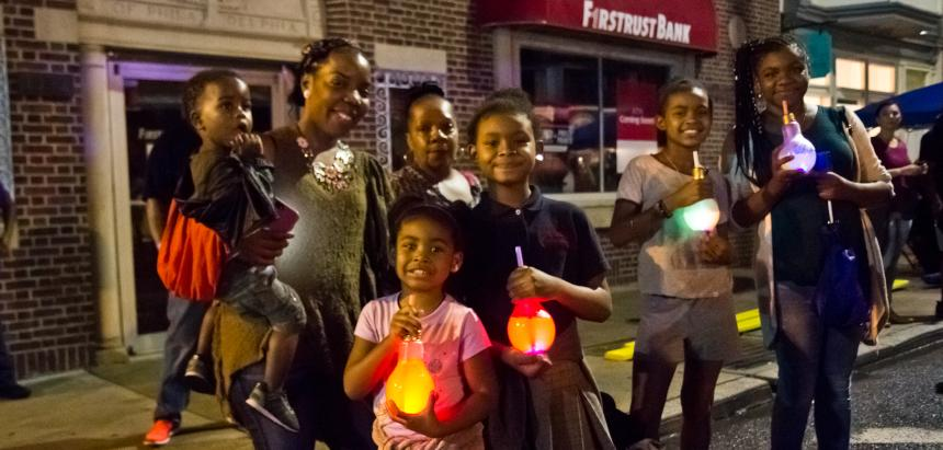 The Bradley family at a Night Market on Point Breeze Avenue.