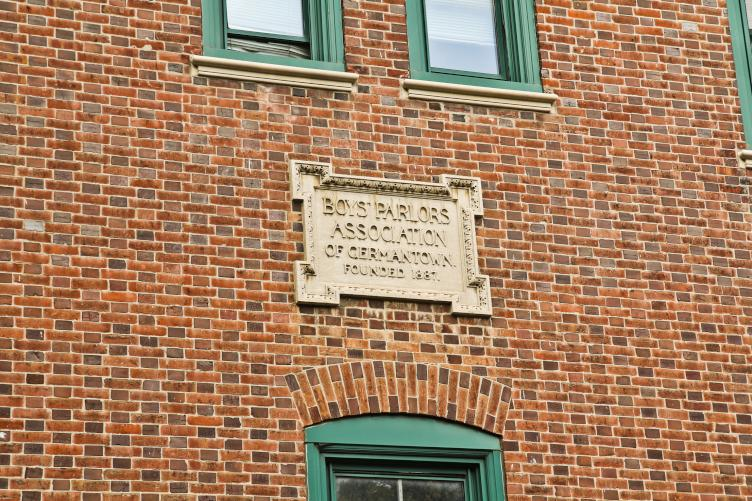 The Germantown clubhouse was founded in 1887 as this plaque on the building shows.