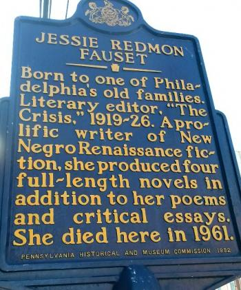 The historical marker dedicated to Jessie Redmon Fauset. (Faye Anderson)