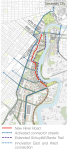 The Lower Schuylkill Master Plan calls for a new river road to improve access and circulation. See the red line above for its possible alignment. | Graphic from Lower Schuylkill Master Plan