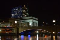 The new lights illuminate 30th Street Station from the river