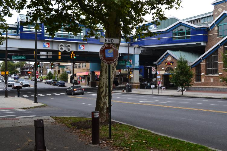 The northern end of the trail is marked by 63rd and Market street, which also provides public transit access