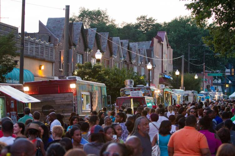 The Ogontz Avenue Revitalization Corporation used the Night Market as a chance to pay homage to the former West Oak Lane Jazz Festival. Credit: Dave Tavani for The Food Trust.
