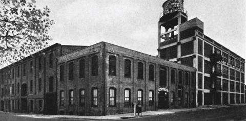 The original Globe Dye Works building built in 1867 by Greenwood & Bault still stands at the corner of Torresdale Avenue and Kinsey Street.