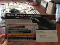 The Realtors association's mailer opposing Mayor Kenney's budget proposal.