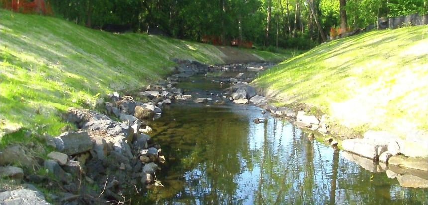 The reconfigured and reconstructed west branch of Indian Creek, Photo courtesy of PWD