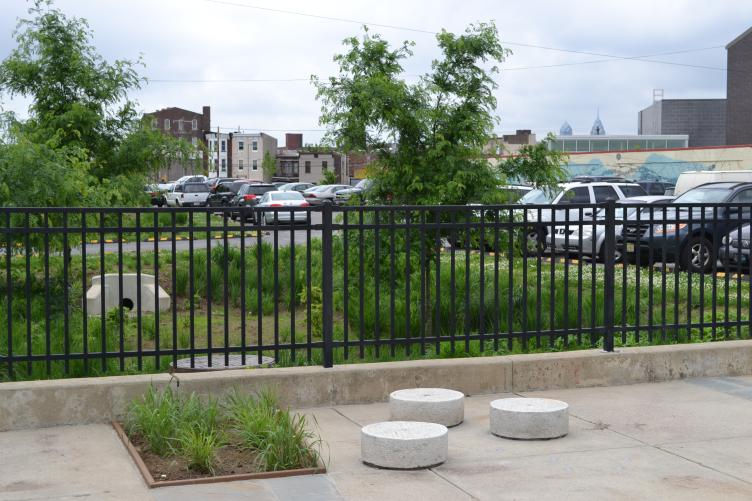 The sprayground backs up to a stormwater management trench installed by the Philadelphia Water Department