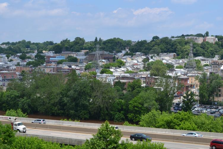 The trail offers a sweeping view of Manayunk