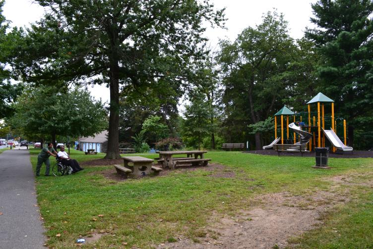The trail passes multiple playgrounds, tennis courts, the Cobbs Creek Community Environmental Center and more