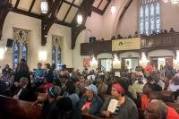 There was a full house at Janes Memorial United Methodist Church for a community meeting on the future of Germantown's old high school building. (Michaela Winberg/Billy Penn)