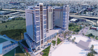 This rendering shows a perspective view of Liberty on the River's first phase of development. (Barton Partners Architects)