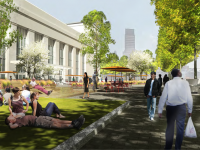 University City District's popular Porch would see continued improvements under the 30th Street Station District Plan