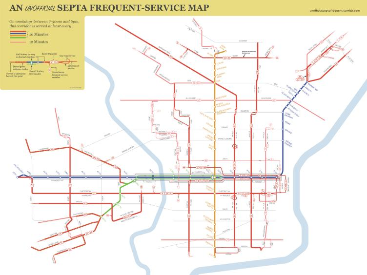 Unofficial SEPTA Frequent Service Map by Thomson Kao