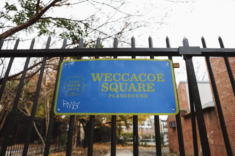 Weccacoe Square Playground has been a city-owned public space since 1889 when it was purchased from Mother Bethel A.M.E. Church. (Neal Santos for PlanPhilly)
